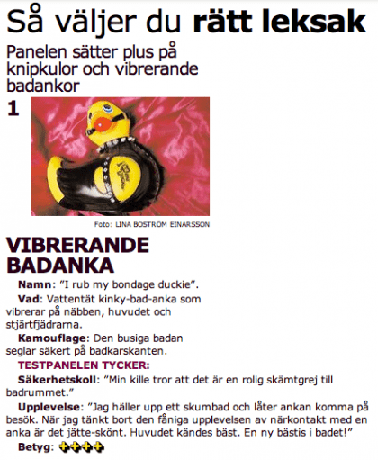 Recension av Badanka Bondage i Aftonbladet