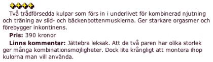 Recension av Lelo Luna Beads i Aftonbladet