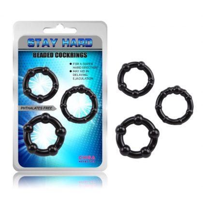 svarta penisringar 3-pack forpackning
